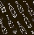 wine champagne bottles chalk drink pattern vector image vector image