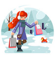 winter shopping bag package girl purchase park vector image vector image