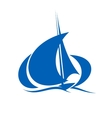 Yacht sailing the ocean waves vector image vector image