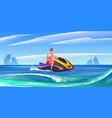 young man ride aquabike jet ski in sea vector image vector image