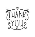 thank you the lettering hand drawn vector image