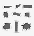 Realistic Holes in White Paper Background vector image