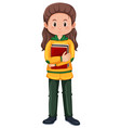 a brunette girl student character vector image vector image