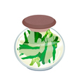 A Jar of Delicious Pickled Chinese Broccoli vector image vector image