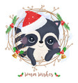 adorable raccoon for christmas decoration vector image