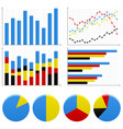 bar pie graph chart a set of bar charts and pie vector image
