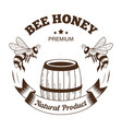 bee honey isolated icon barrel and flying insects vector image vector image