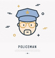 cartoon policeman in glasses and cap line icon vector image