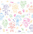 cheerful children seamless pattern painted by vector image vector image