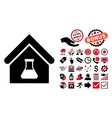 Chemical Labs Building Flat Icon with Bonus vector image