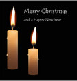 christmas greeting card burning candle on black vector image