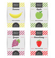 colorful design set of fruits labels vector image