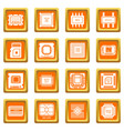 computer chips icons set orange square vector image vector image