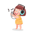 cute cartoon little girl listening music with vector image vector image