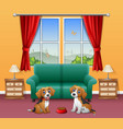 cute two dogs sitting in the living room vector image