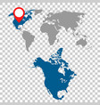 detailed map of north america and world map vector image vector image