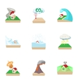 Disaster icons set cartoon style vector image vector image