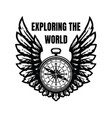 exploring world compass and wings sign vector image