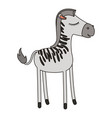 female zebra cartoon with closed eyes expression vector image