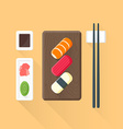 flat colored sushi set icon vector image