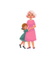 flat grandmother and small girl hugging vector image