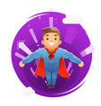 flying happy cute superhero character arrows vector image