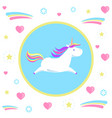 flying unicorn from dream pattern in circle vector image