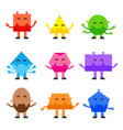 geometric shapes funny monsters cartoon vector image vector image
