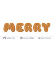 gingerbread word merry isolated on white vector image