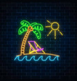 glowing neon summer sign with palm sun vector image vector image