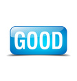 good blue square 3d realistic isolated web button vector image vector image