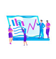 group of people at huge laptop learning graphs vector image vector image