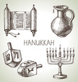 Hand drawn sketch Hanukkah elements set Israel vector image