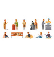 homeless people cartoon icon set vector image
