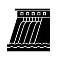 hydroelectric dam glyph icon vector image vector image