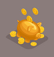 isometric bank deposit concept golden pig vector image