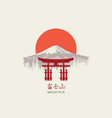 japanese banner with torii gate and mount fuji vector image