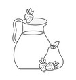 line pear and strawberry juice in the jar vector image