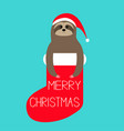 merry christmas sloth in red sock santa hat slow vector image