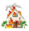 modern house on fire vector image vector image