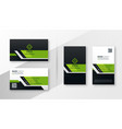 professional green modern business card template vector image vector image