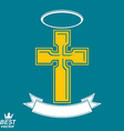 Religious cross emblem with nimbus and decorative vector image