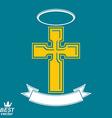Religious cross emblem with nimbus and decorative