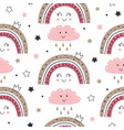 seamless pattern with princess rainbow and cloud vector image vector image