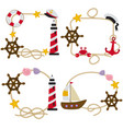 set isolated rope frames nautical vector image