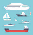 Set of marine ships boats yachts and sailing