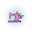 Sewing machine icon comics style vector image vector image