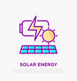 solar energy renewable battery thin line icon vector image