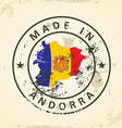 Stamp with map flag of Andorra vector image vector image