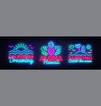 summer neon signs collection design template vector image